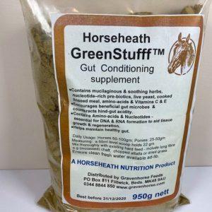 GreenStuff, horses, anti-inflammatory, supplement, chamomile, equine, gut health, hindgut, linseed meal, liquorice, live yeast, mucilaginous, prebiotics, slippery elm, vitamin C, vitamin E