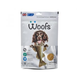 Woofs, cod, dogs, healthy coat, hypoallergenic, immune system, joints, omega-3, treats, wild ocean fish